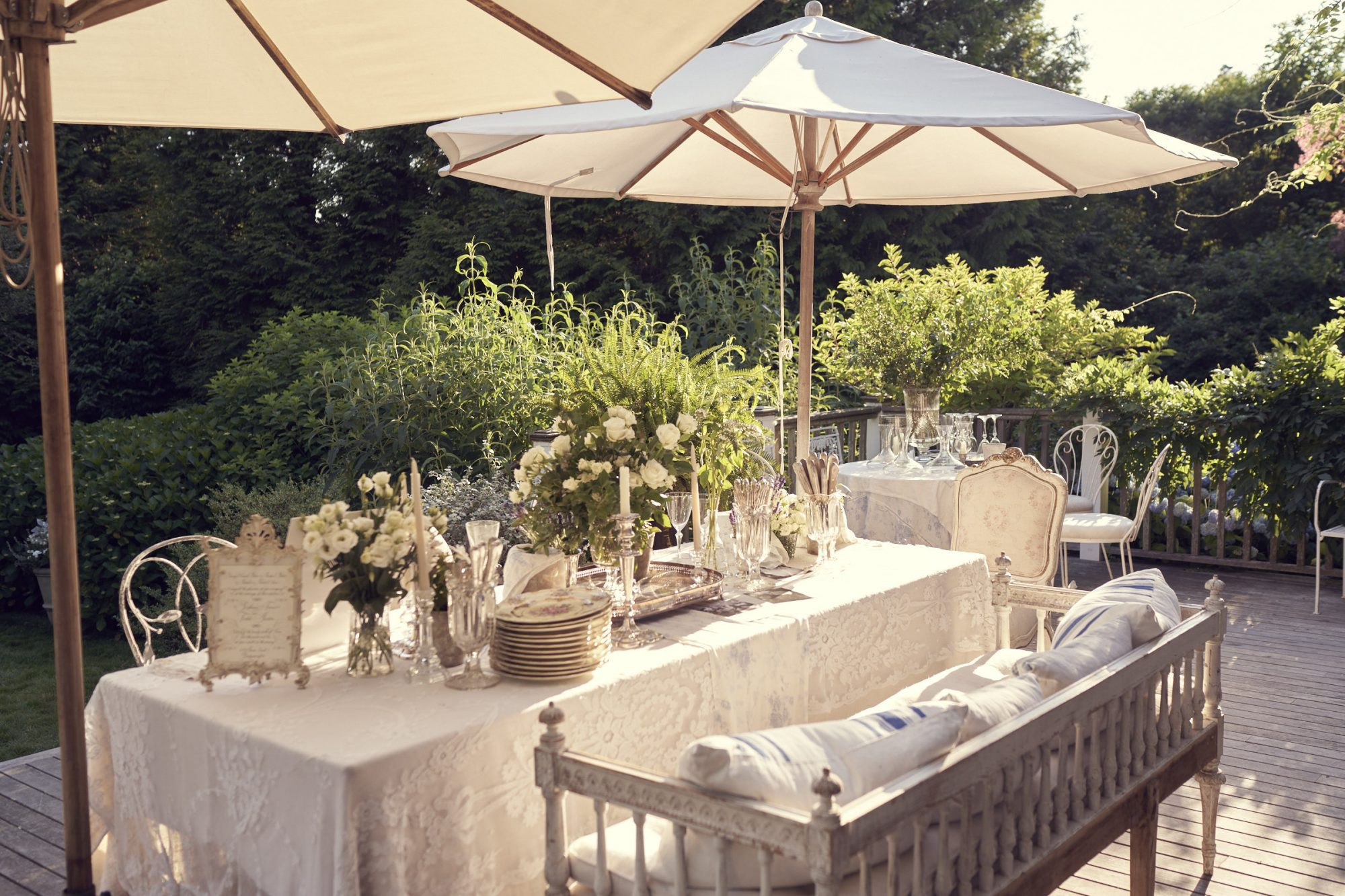 Intimate Reception Table on Patio