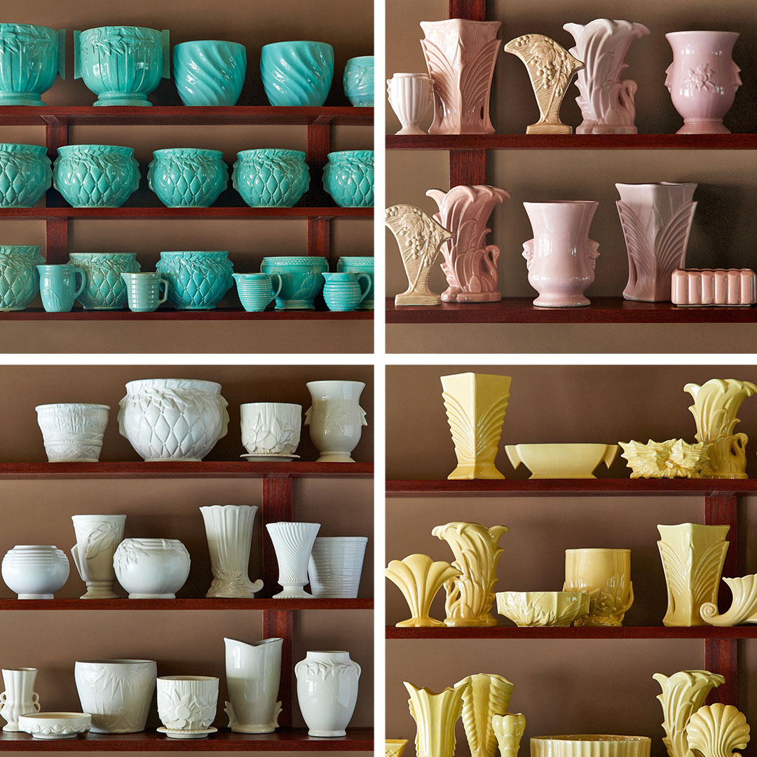 Martha's collection of McCoy pottery grouped by color
