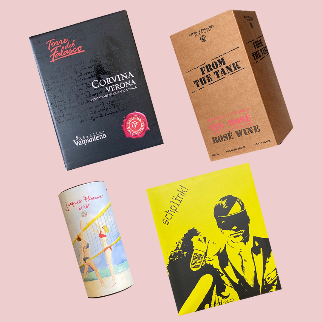 Four different boxed wines