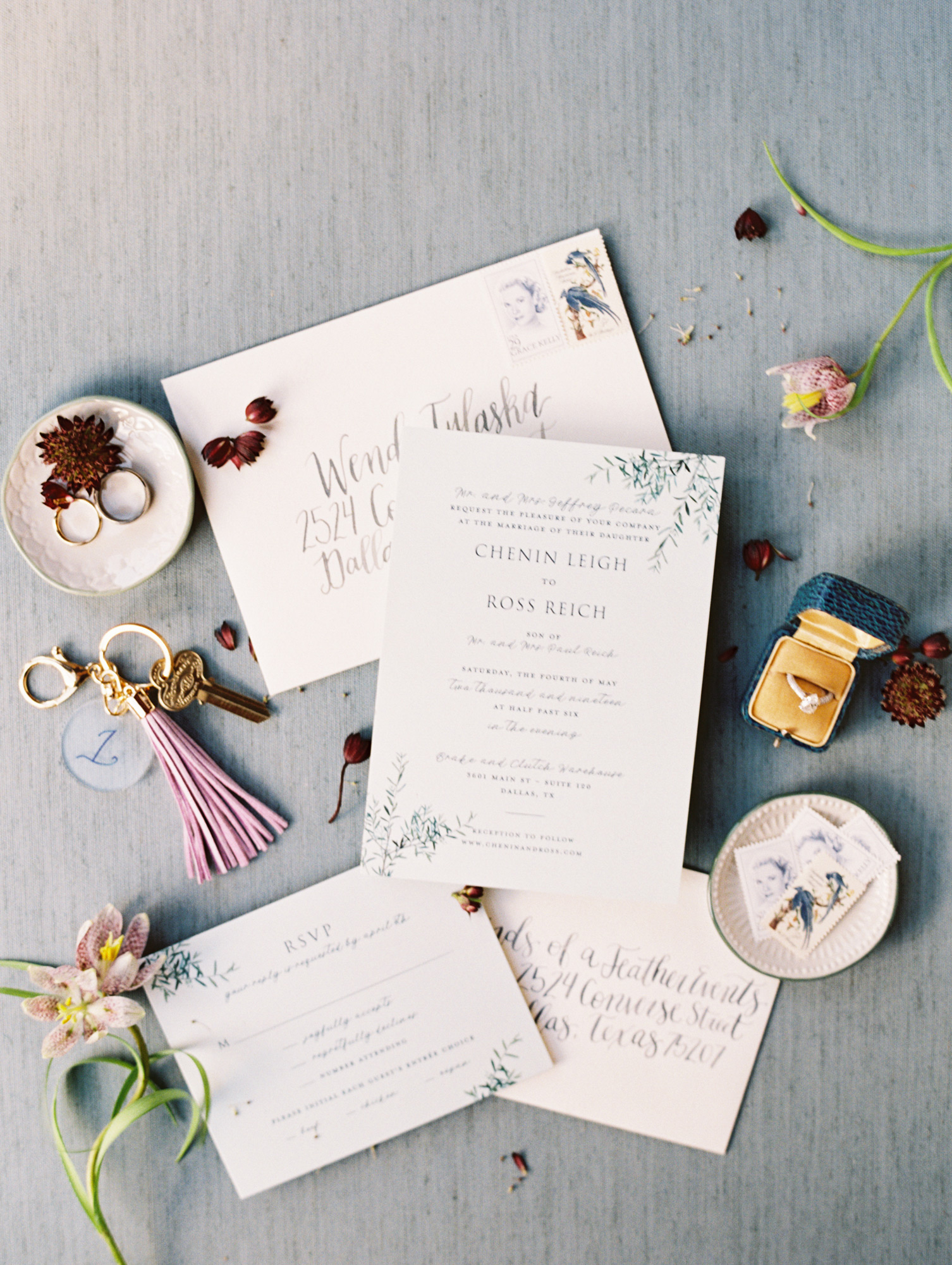 wedding invitation package cream with greenery accents