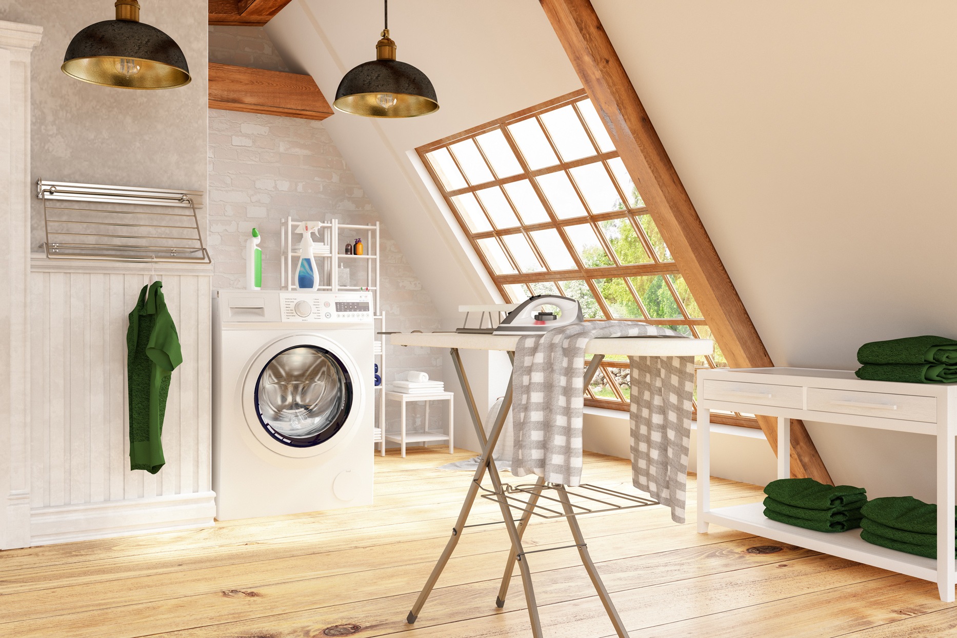 modern upgraded laundry room with ironing board