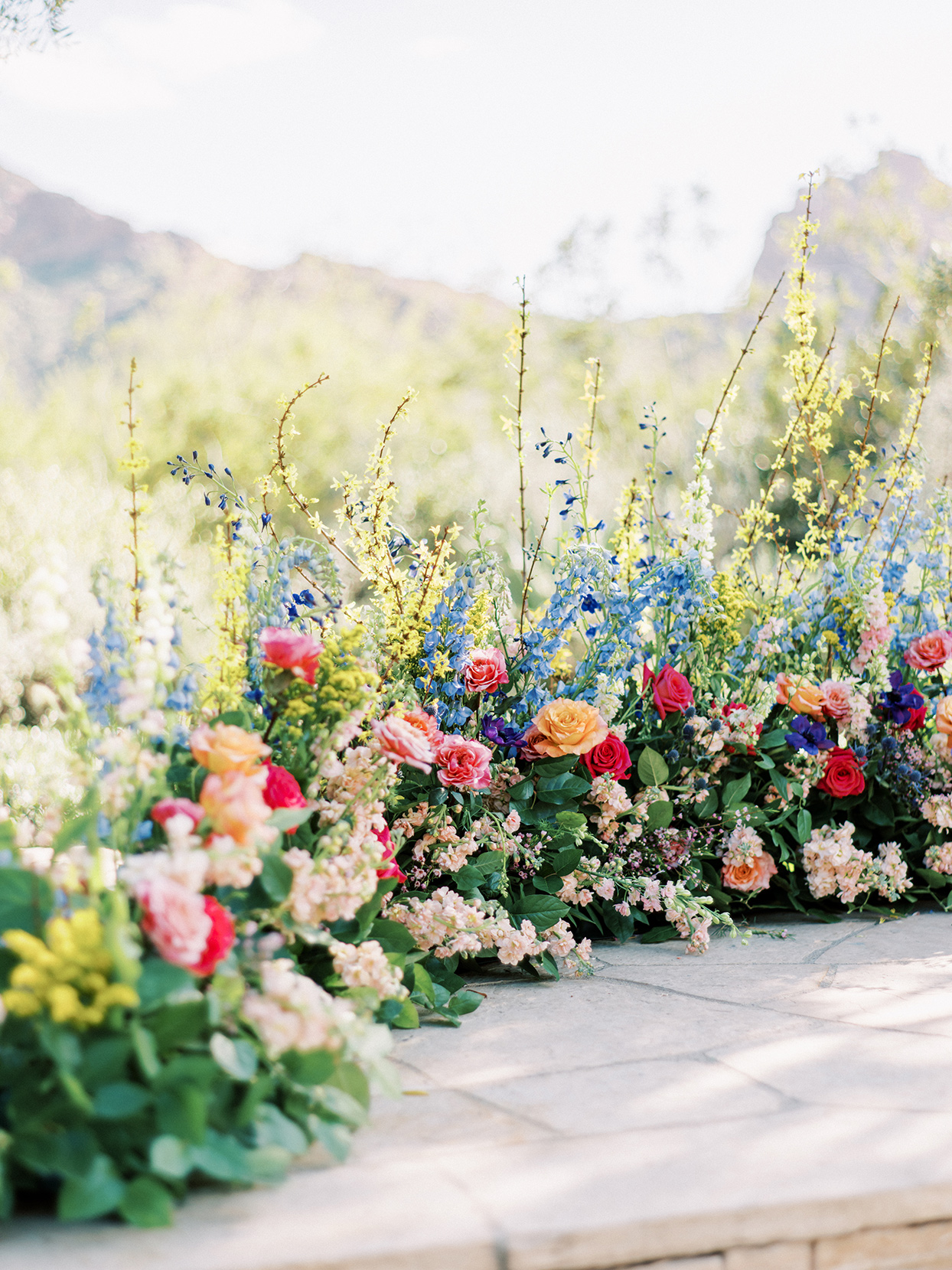 various colored floral wedding decor