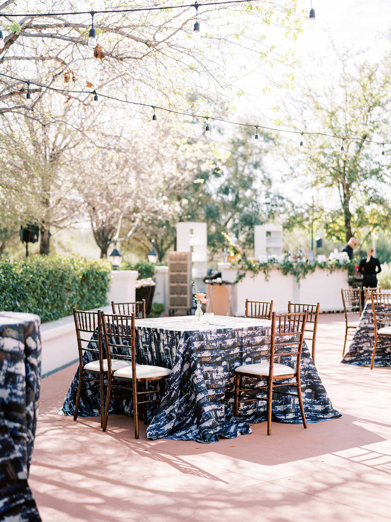 square outdoor wedding reception tables