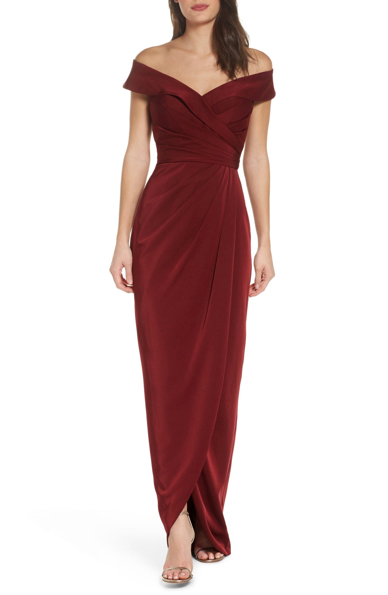 la femme surplice off the shoulder column gown