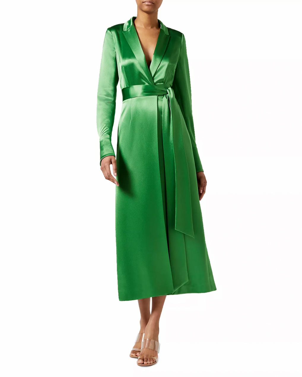 galvan callisto wrap coat dress in jungle green