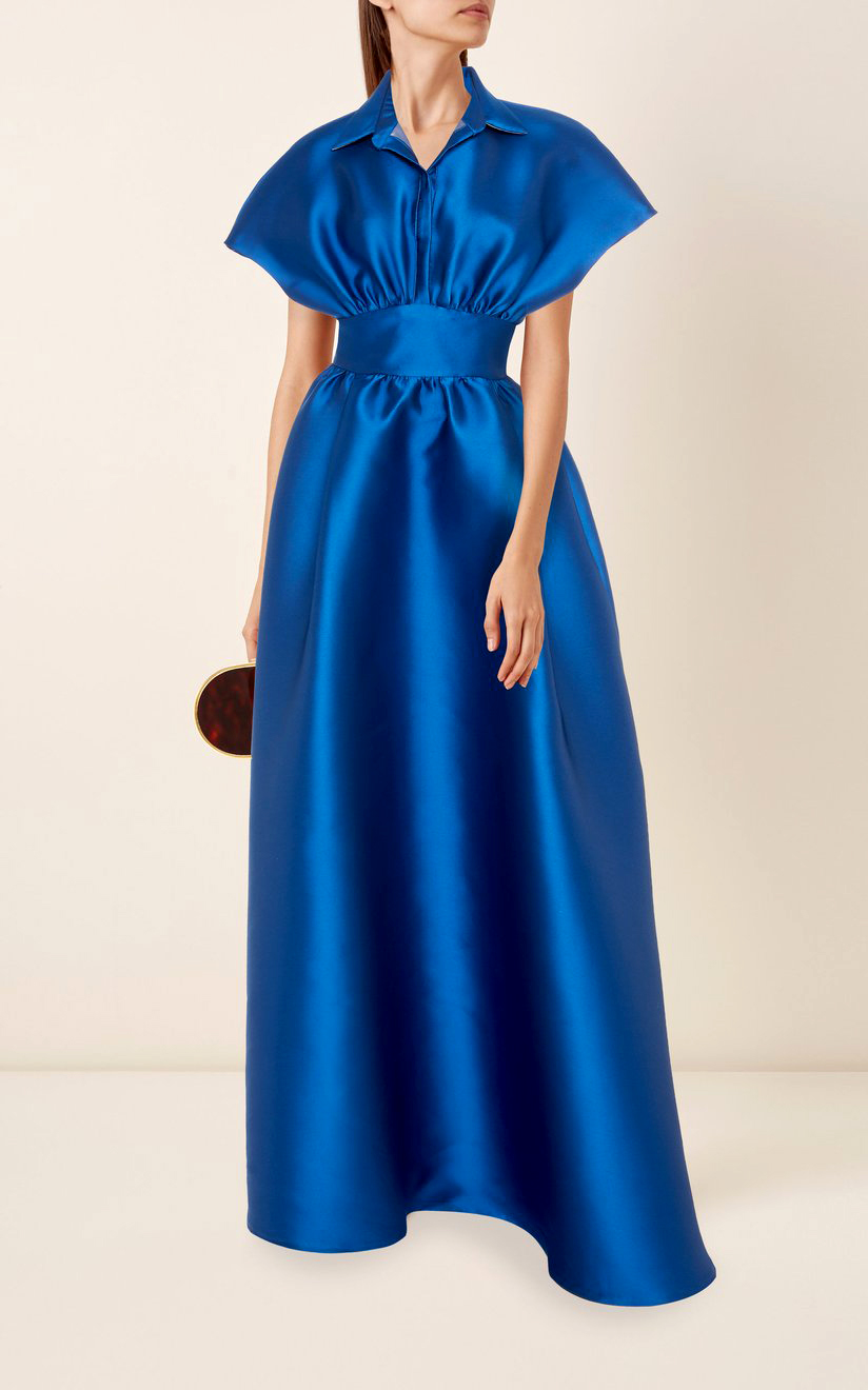 lela rose gathered duchess satin gown in navy