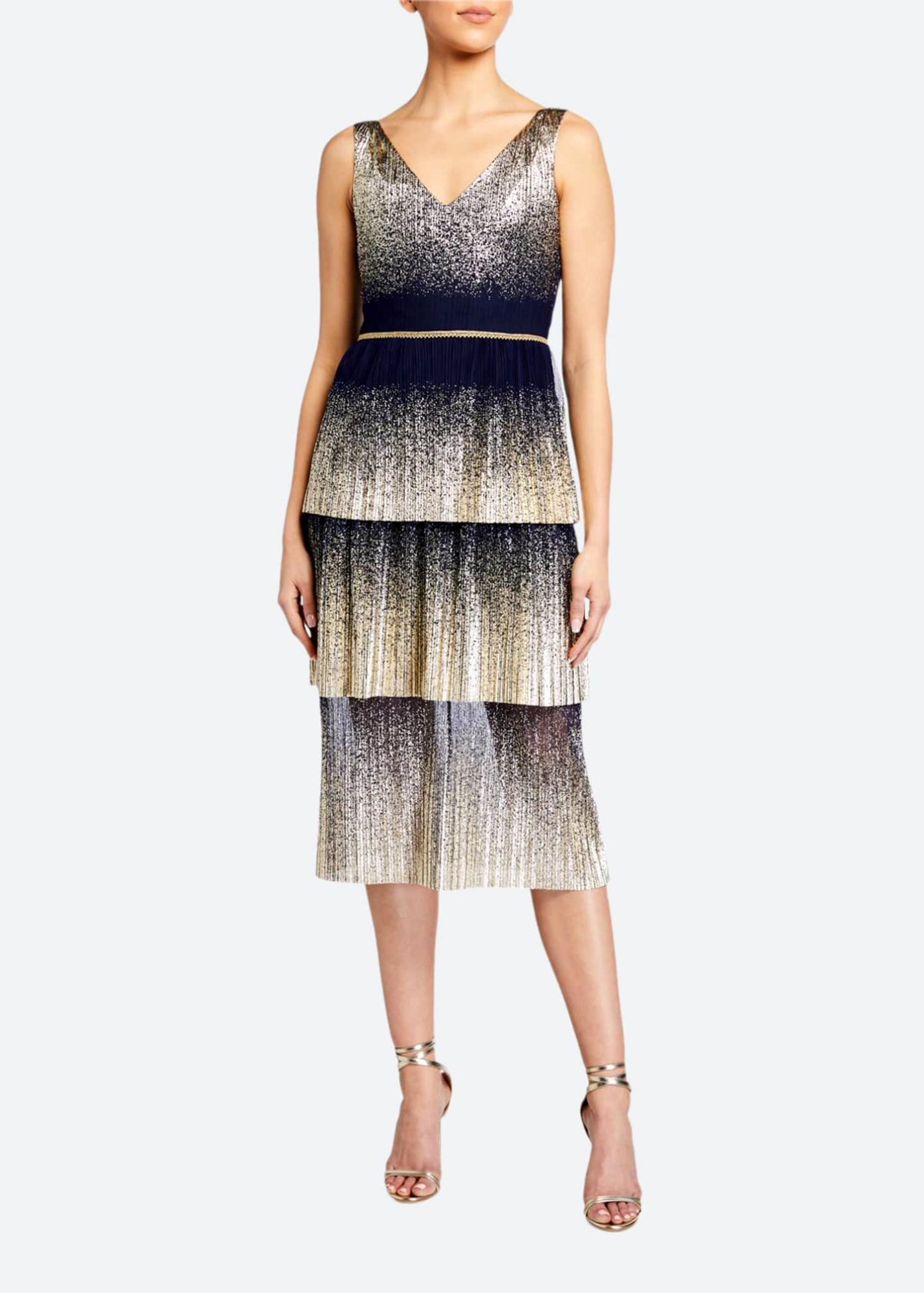 marchesa notte v-neck pleated foil degrade tiered cocktail dress