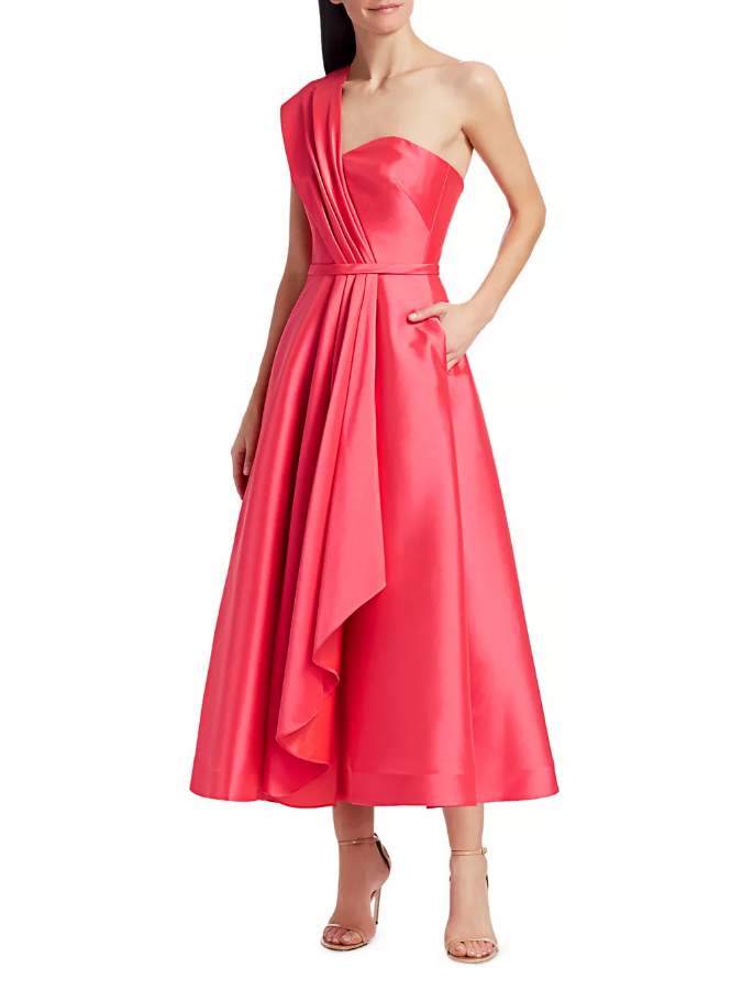 "theia ""zibeline"" tea-length cocktail dress"