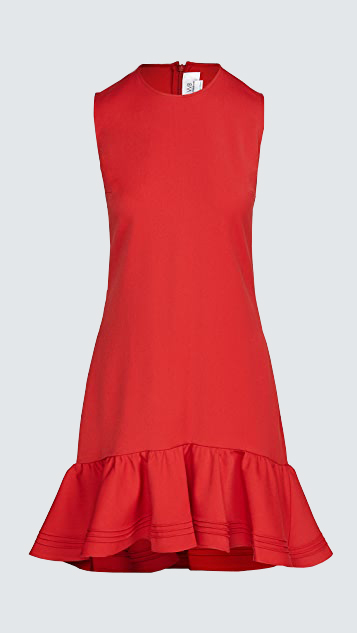 victoria victoria beckham pintuck flounce hem shift dress