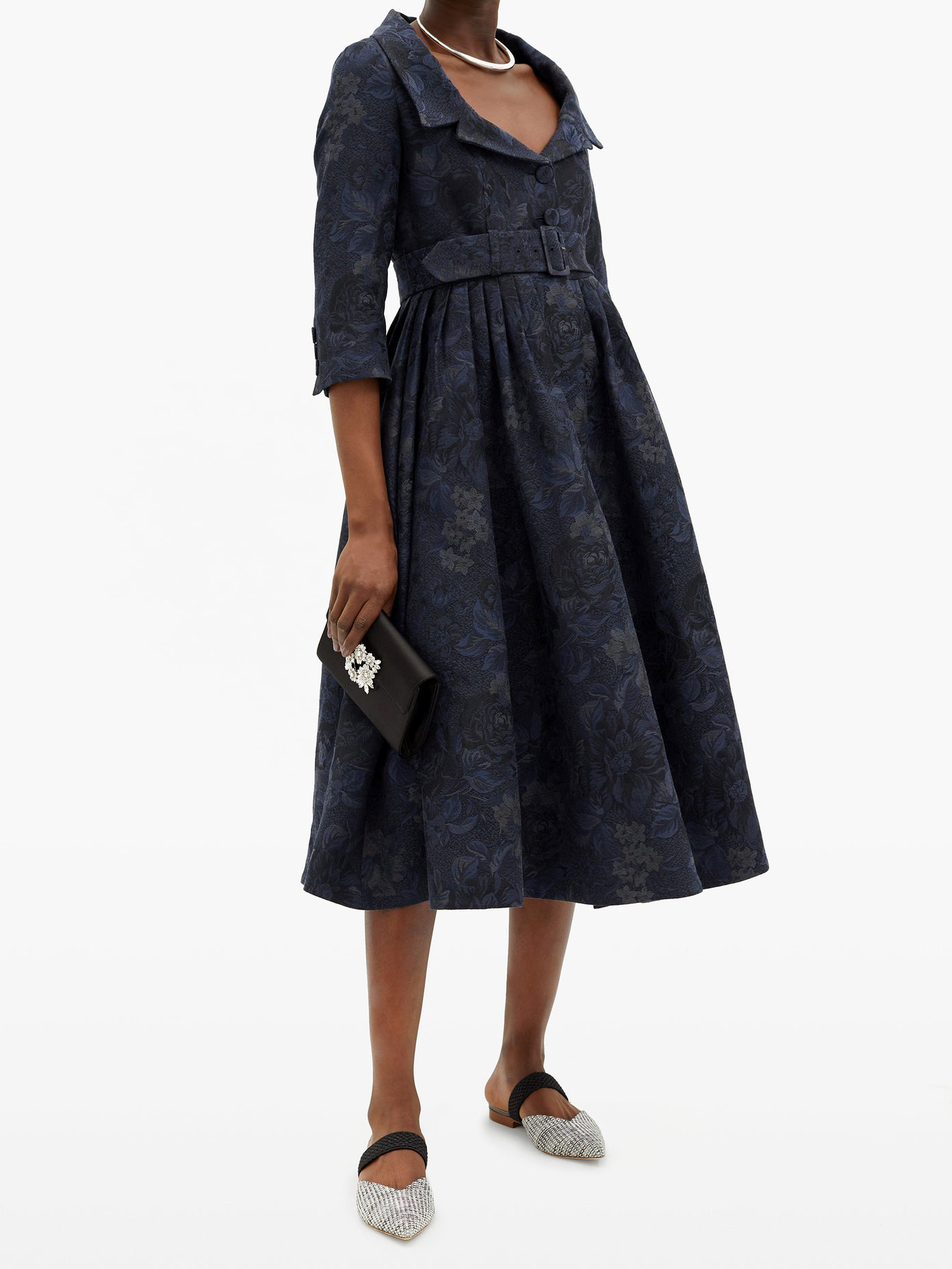 erdem meril cotton-blend floral jacquard midi dress