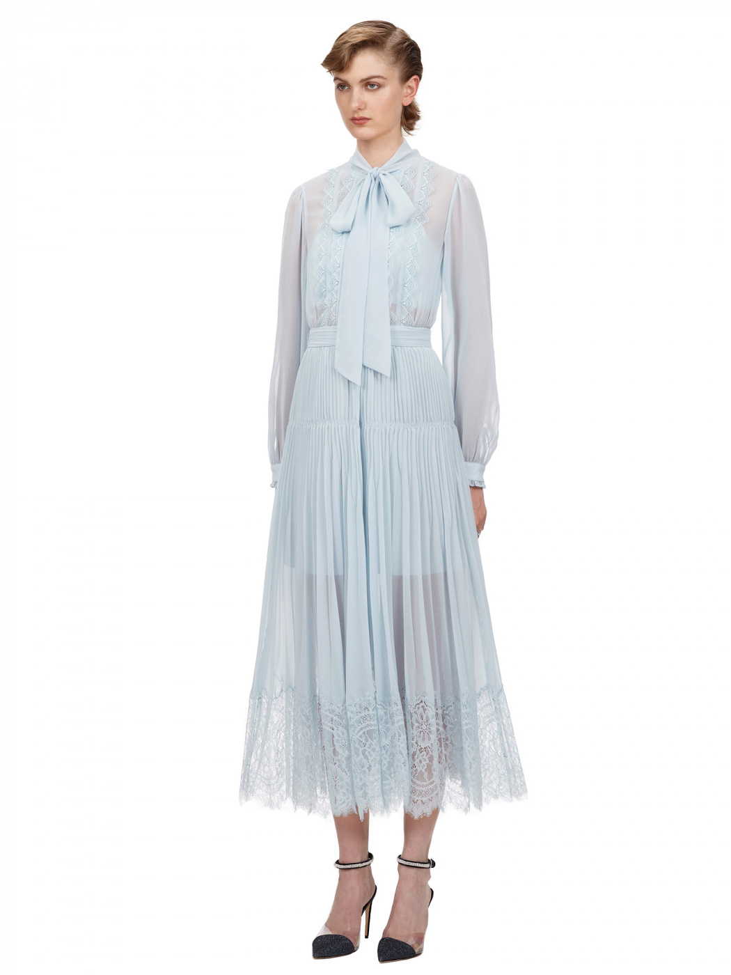 self-portrait pale blue chiffon-trimmed dress