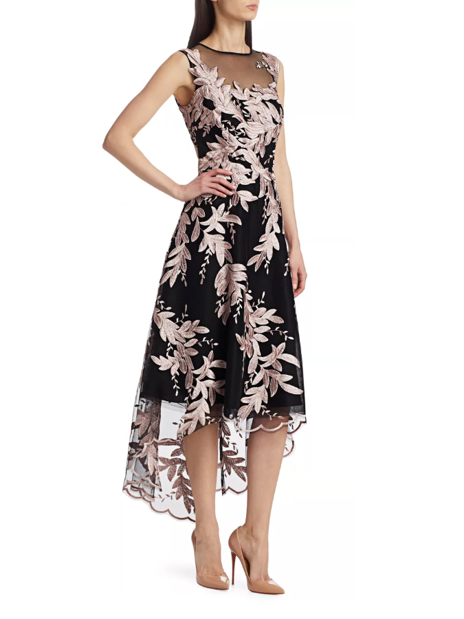 teri jon by rickie freeman metallic floral applique high-low cocktail dress