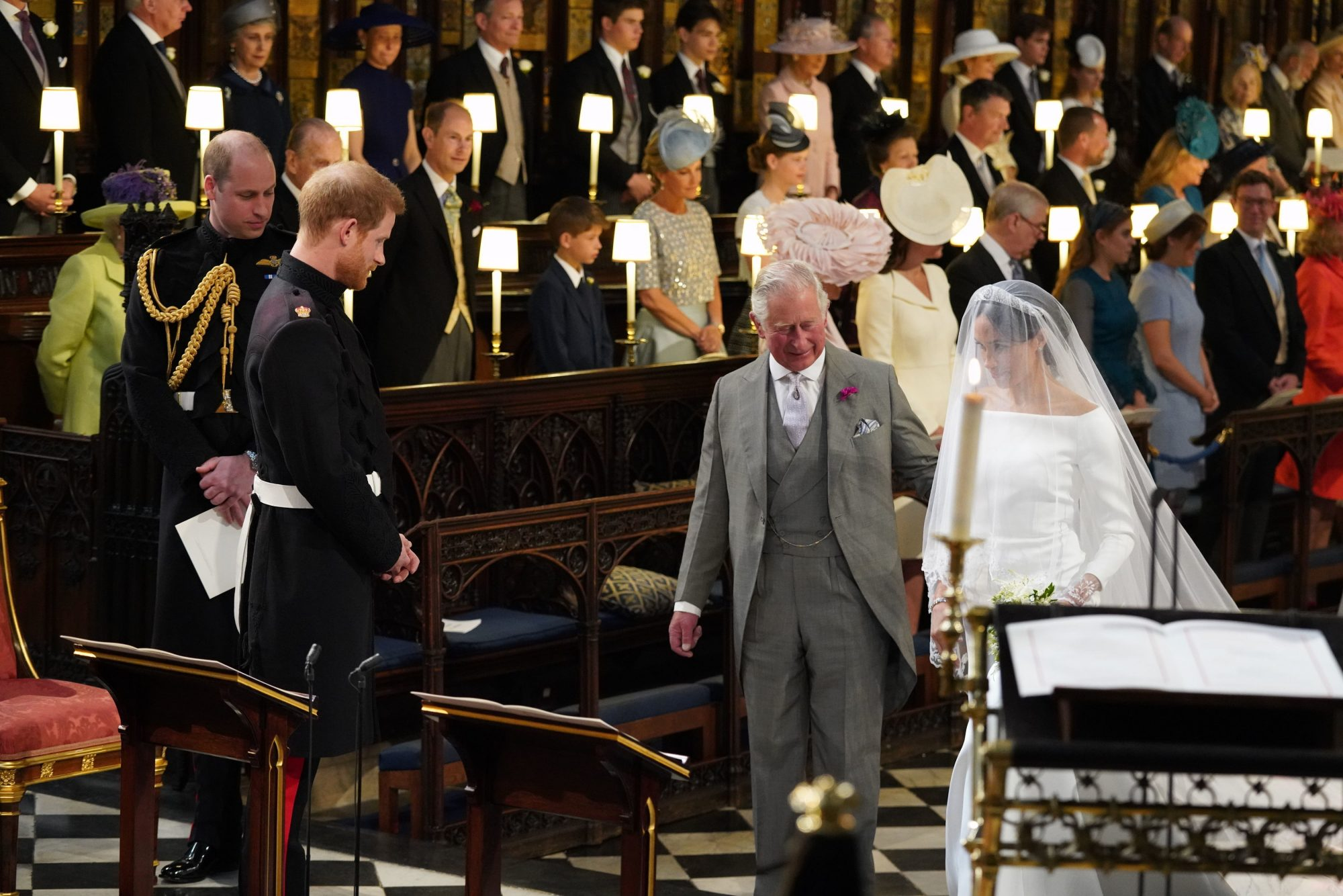 prince charles walking meghan markle down the aisle to prince harry on their wedding day