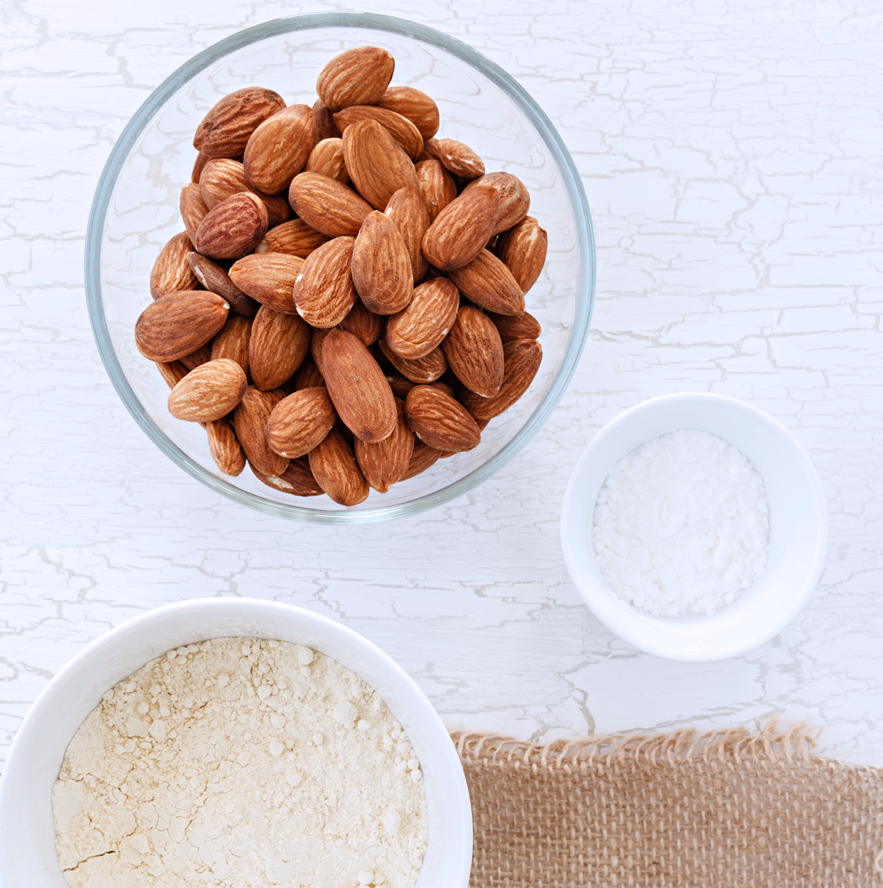 almonds, almond flour, and almond meal on table