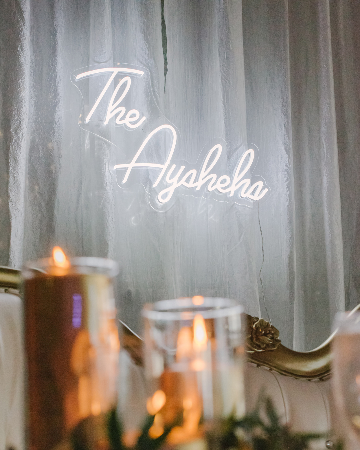 wedding white neon sign with couple's last name