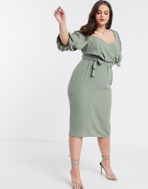 ASOS DESIGN Curve wrap front midi dress with puff sleeves in khaki