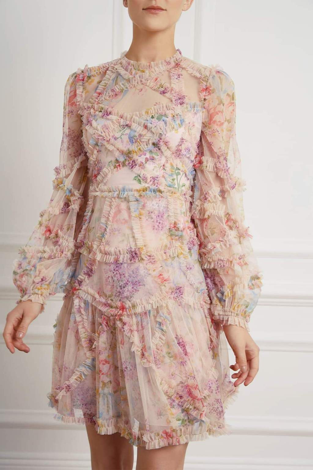 Needle and Thread Floral Diamond Ruffle Dress in Topaz Pink