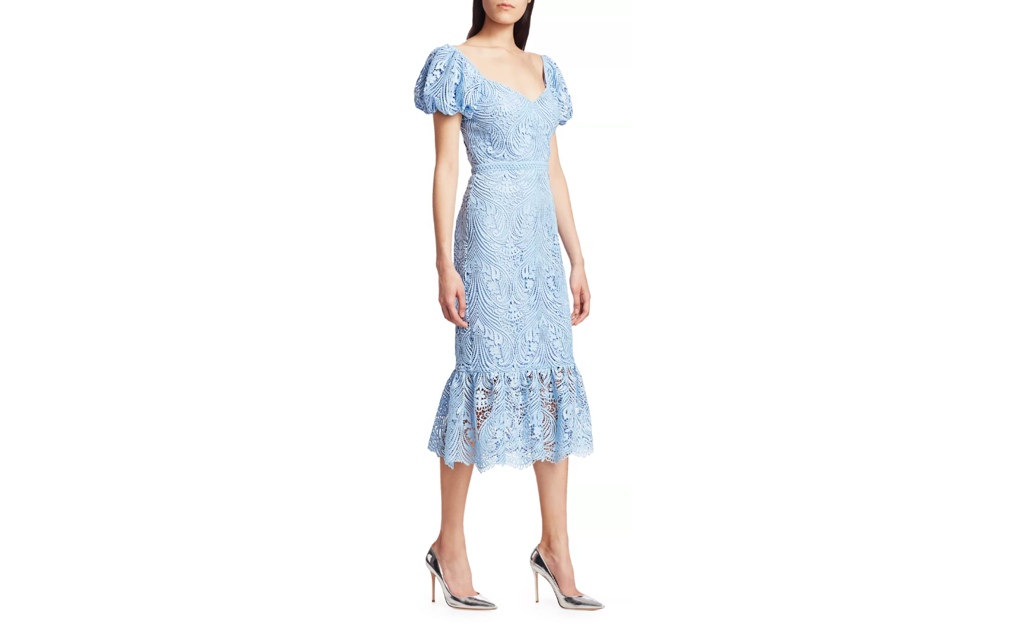 ML Monique Lhuillier Lace Puff-Sleeved Midi Dress