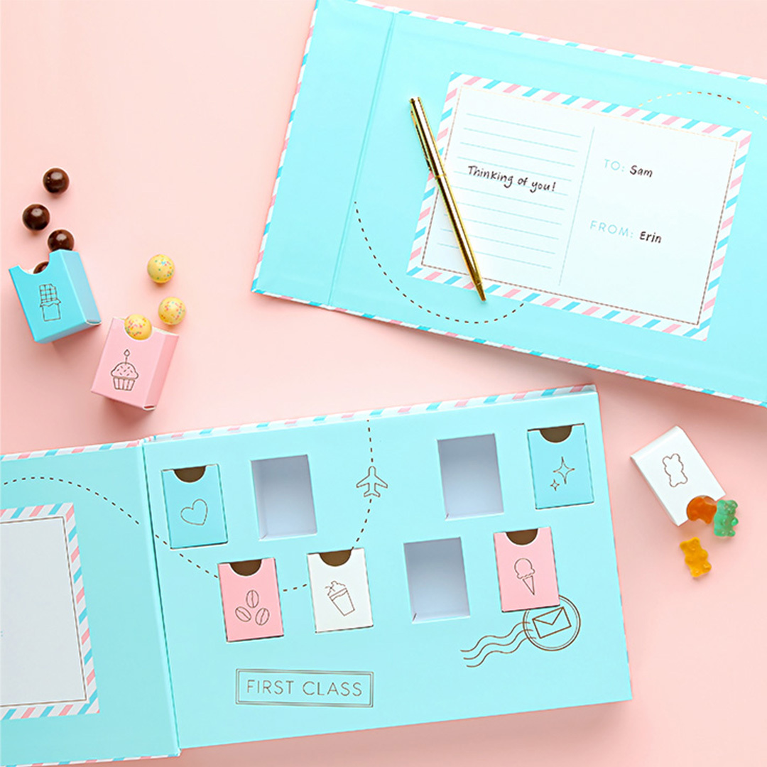 sugarfina candy care box with a personalized note