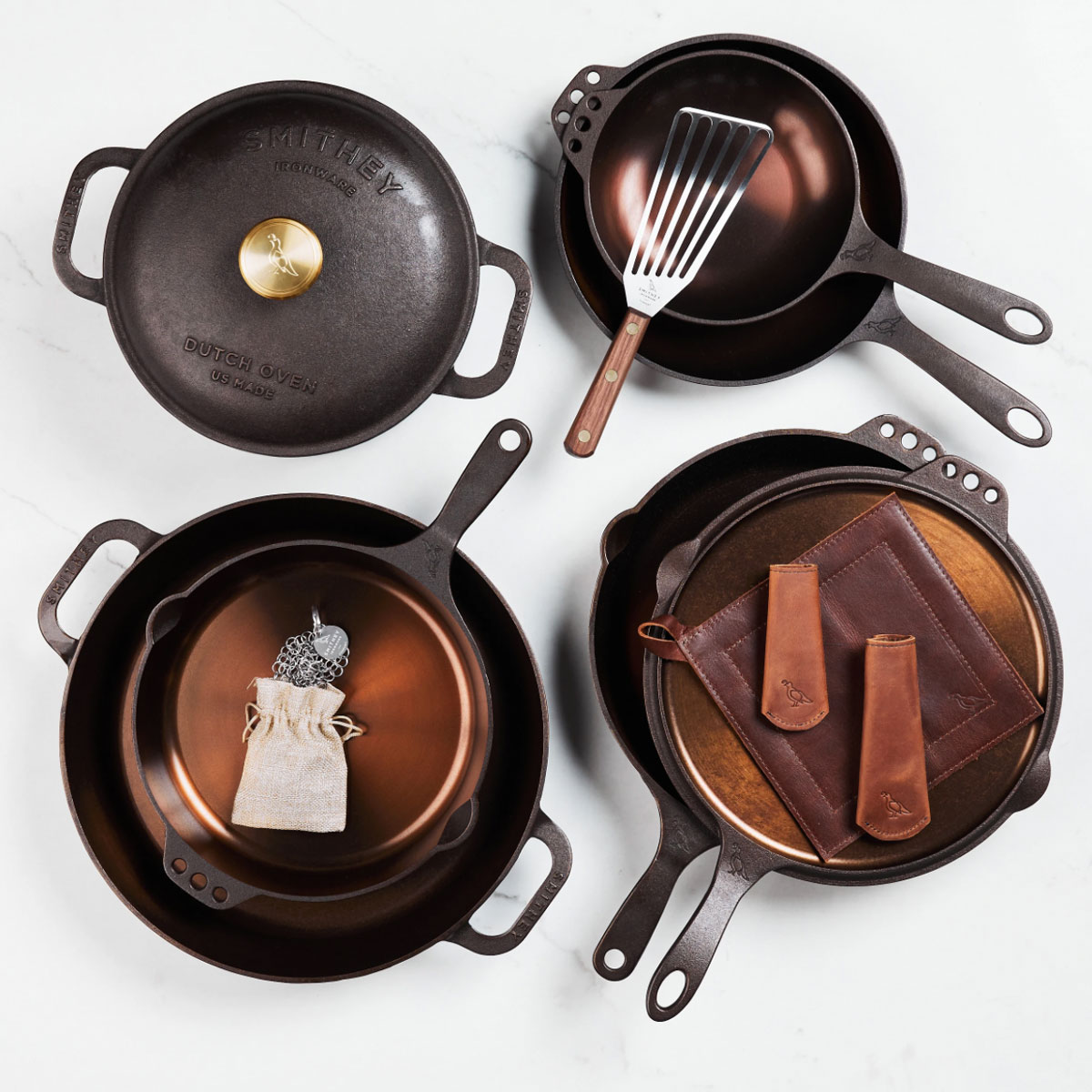 dutch oven, skillets, and pans by Smithey Ironware Co.