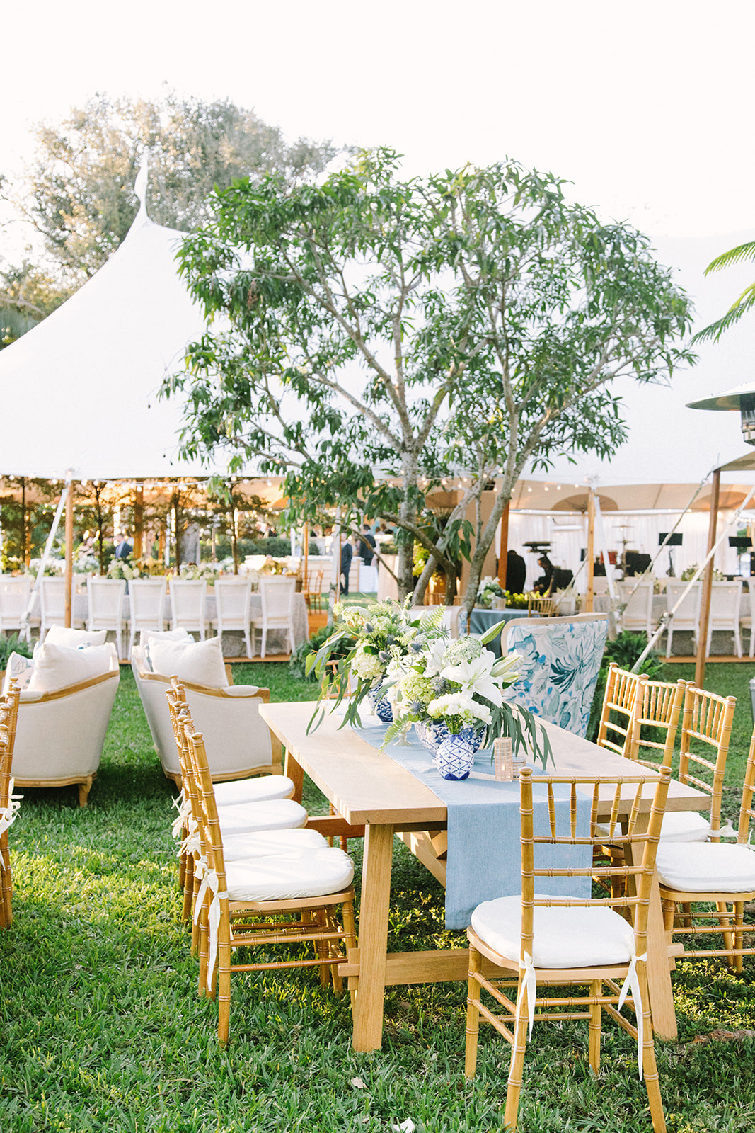 outdoor white tent cocktail hour space