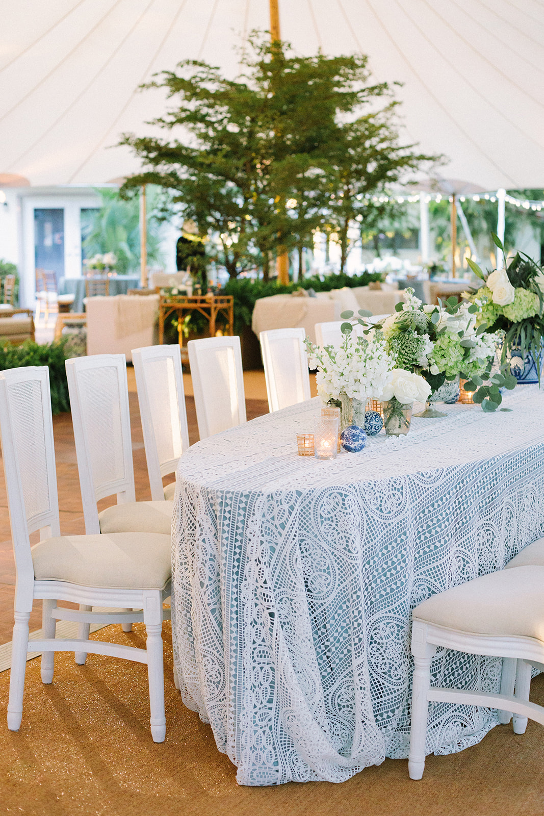 baby blue linen under lace table covering reception decor