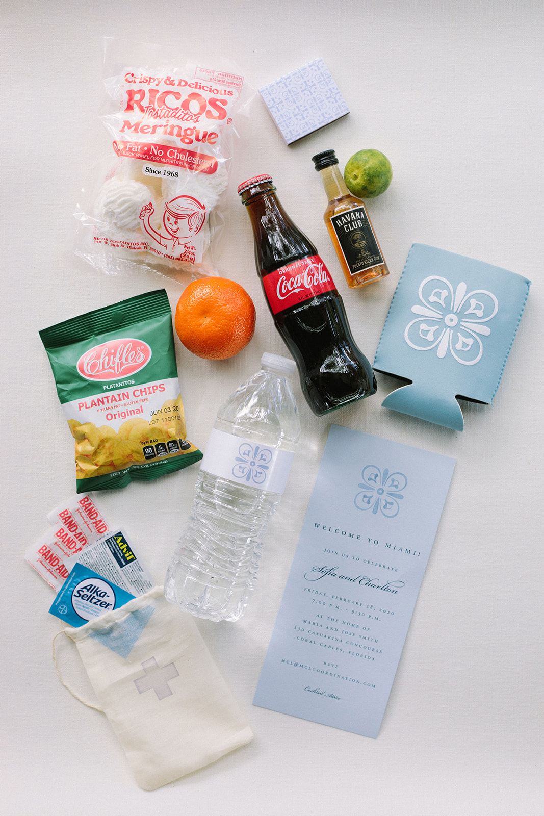 various items welcome bag wedding guest gifts