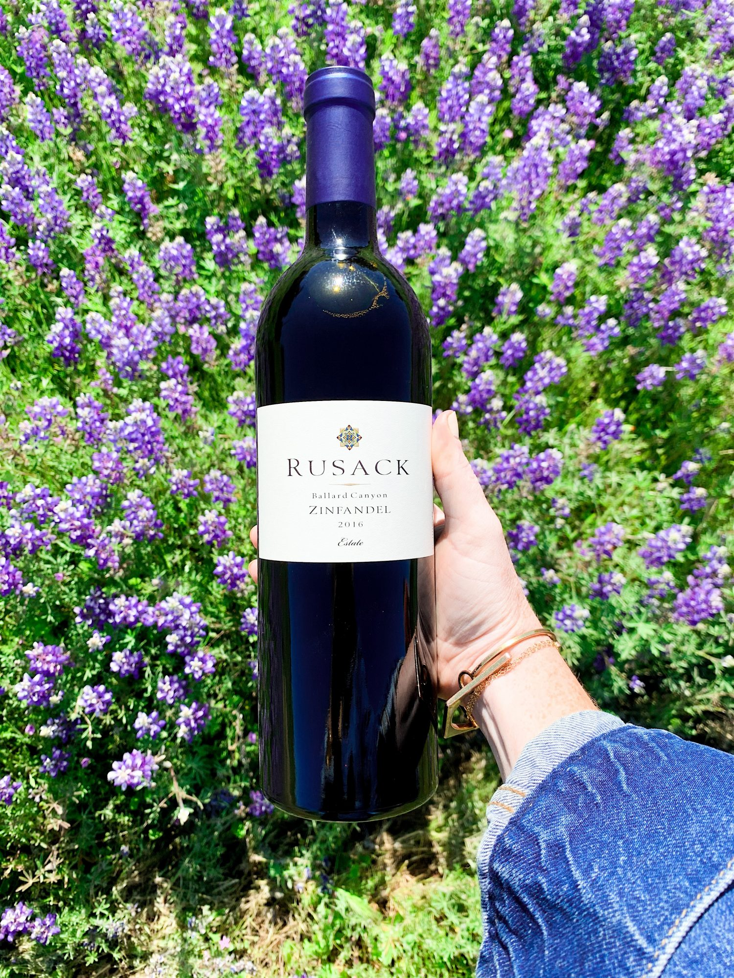 bottle of red zinfandel being held in the vineyard with wild flowers in background
