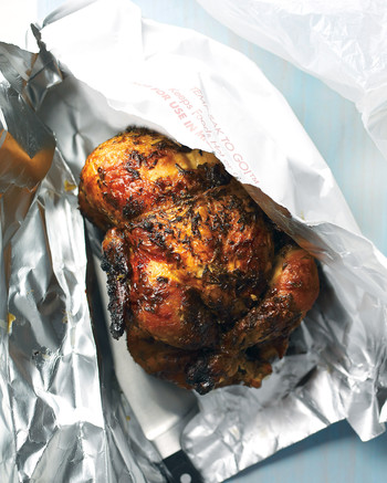 rotisserie chicken in packaging from store