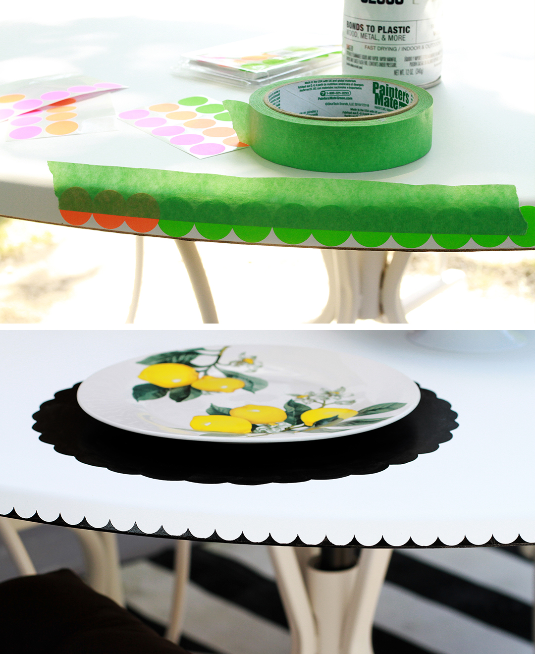 painting a scalloped edge on the patio table