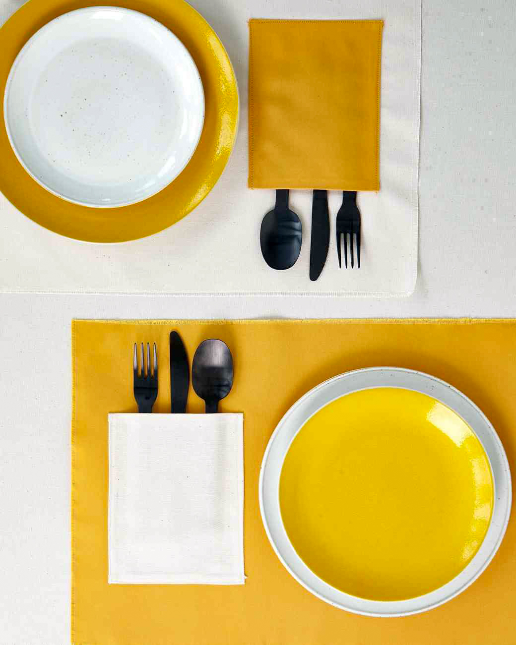 waxed canvas placemats in mustard yellow