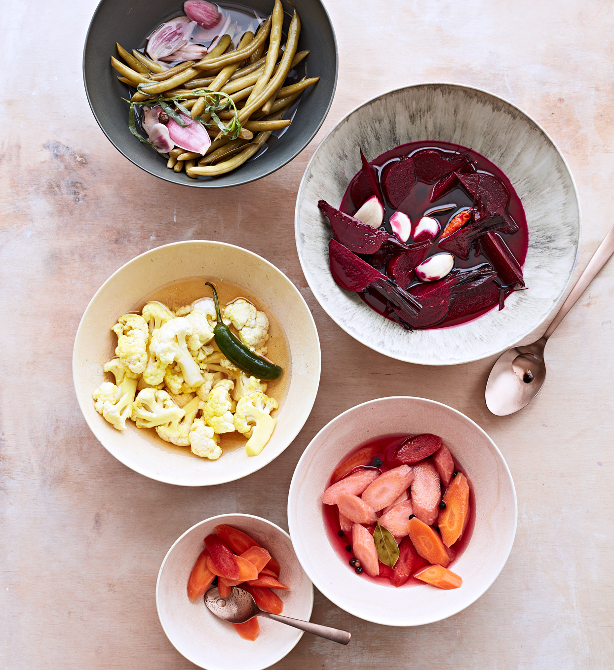 bowls of pickled vegetables