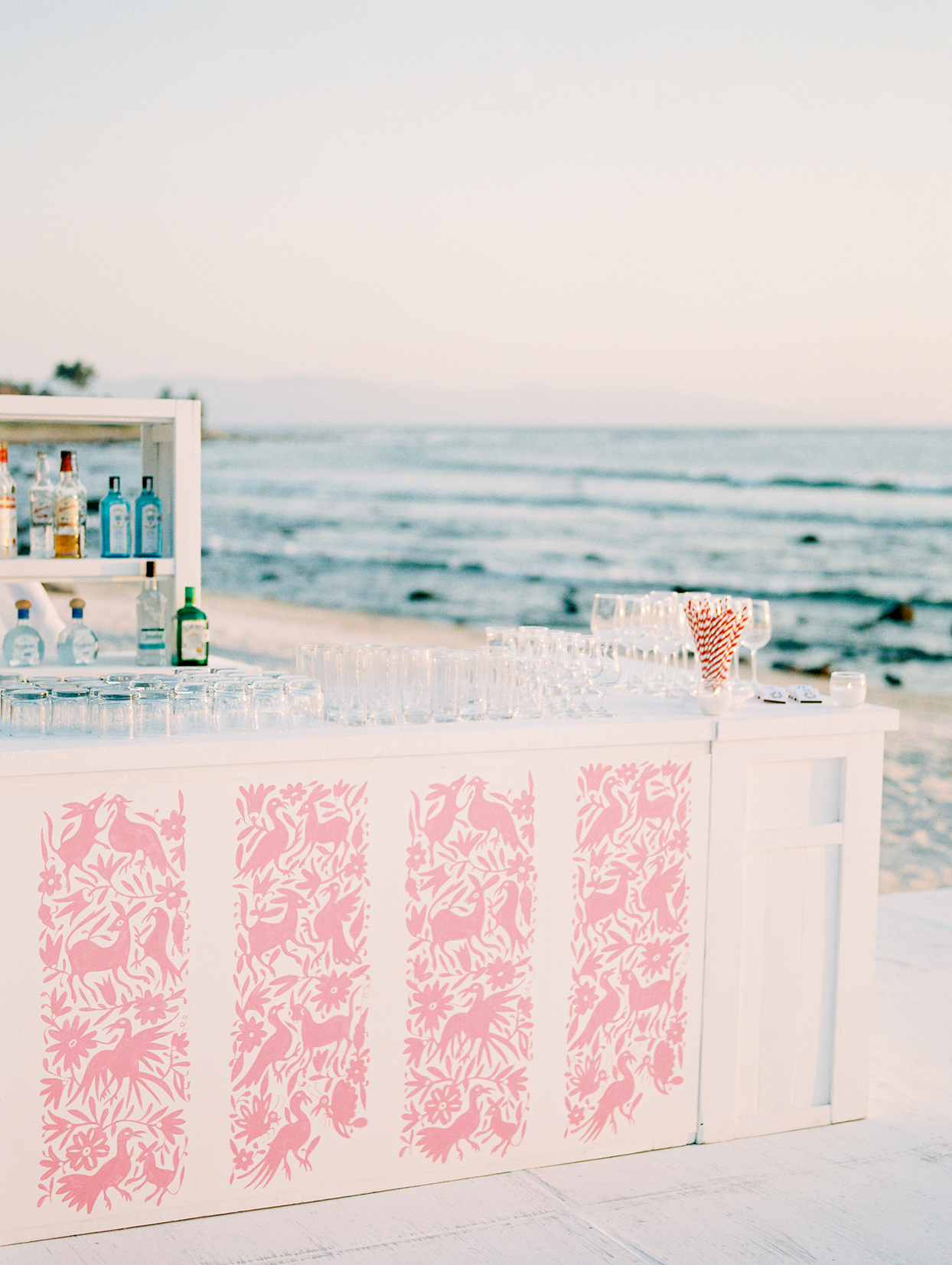 outdoor wedding bar by ocean