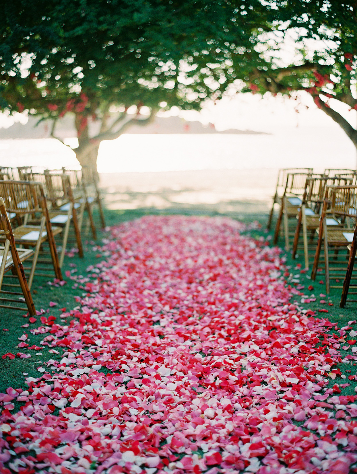 pink, red, and white petal covered ceremony aisle
