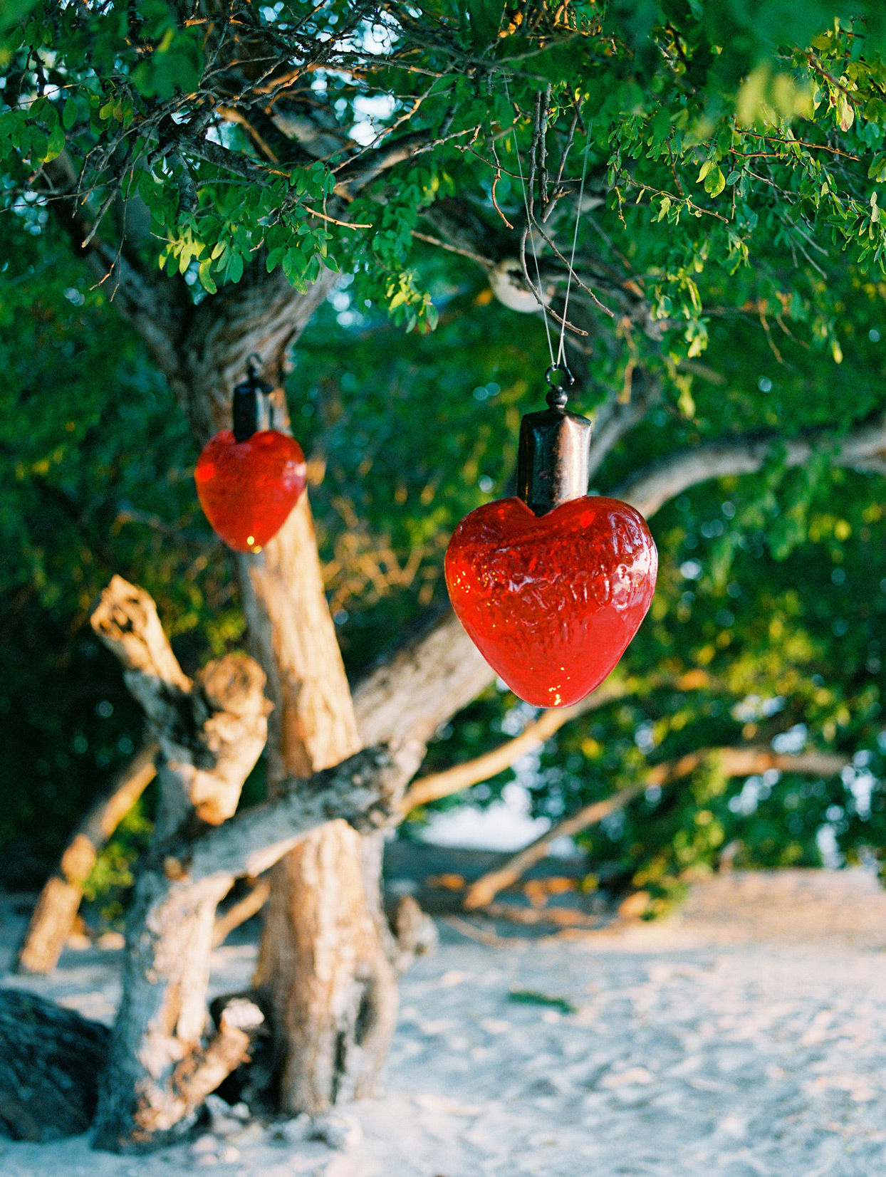 red heart hanging treat ornaments outdoor wedding decor