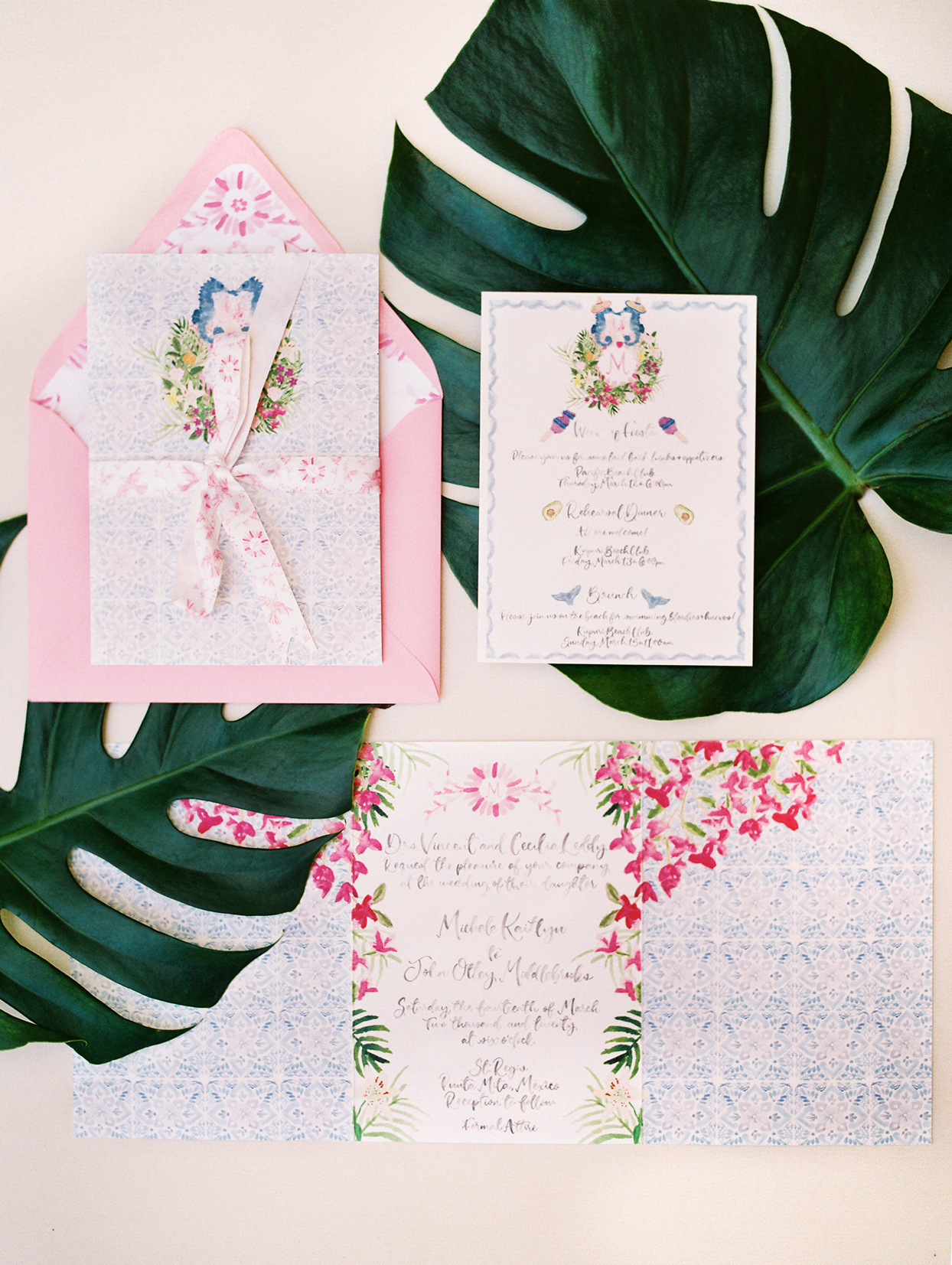 tropical deigned pink and blue wedding invitation suite