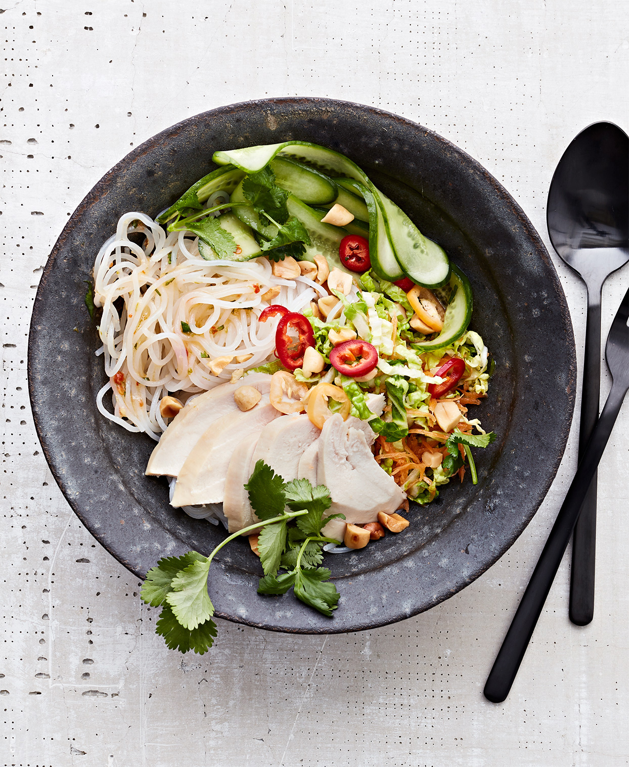 sweet-and-sour chicken-noodle bowl