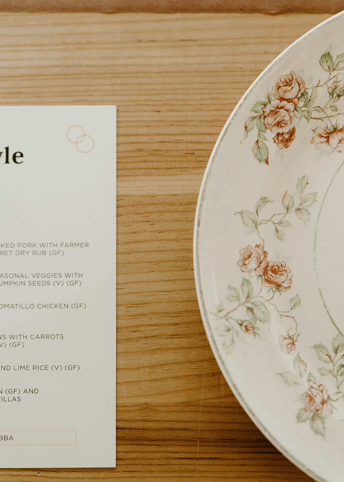 floral designed place setting