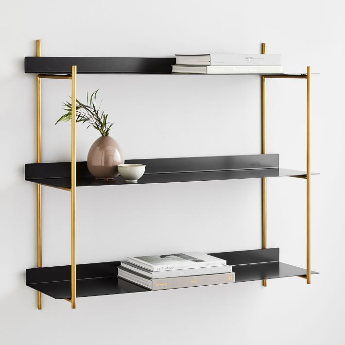 """West Elm """"Floating Lines"""" Three-Tiered Wall Shelf"""