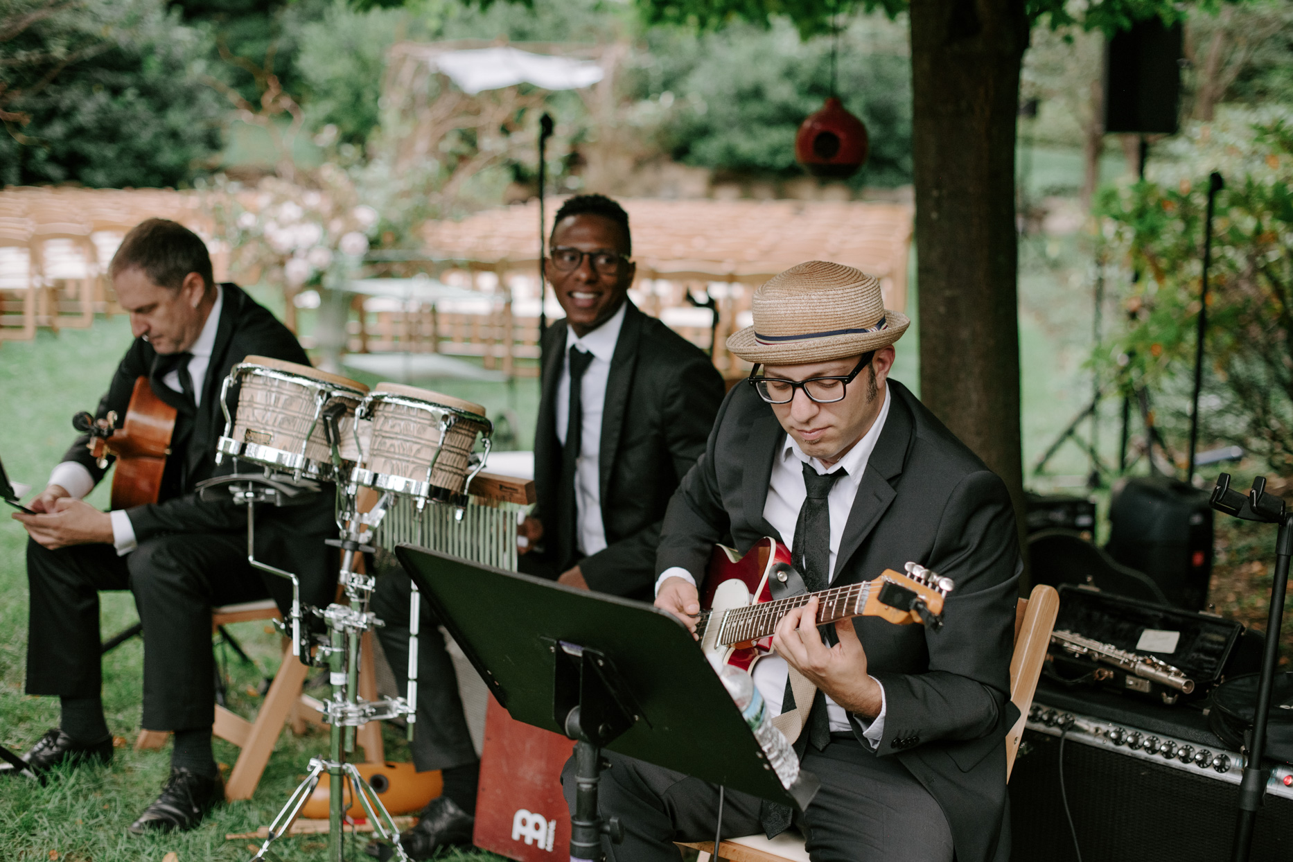 trio playing live music at wedding ceremony