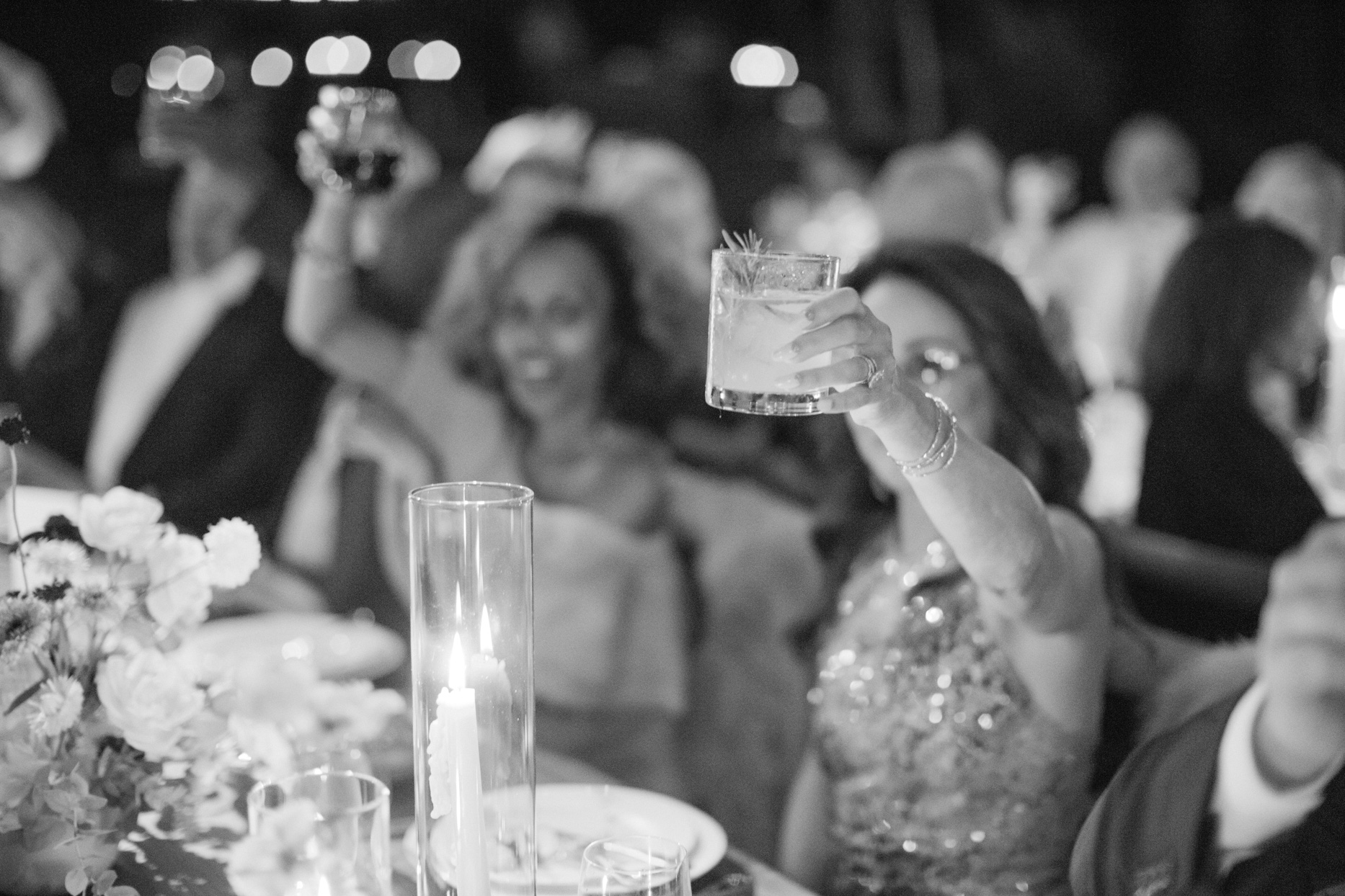 guests raising glasses during reception toasts