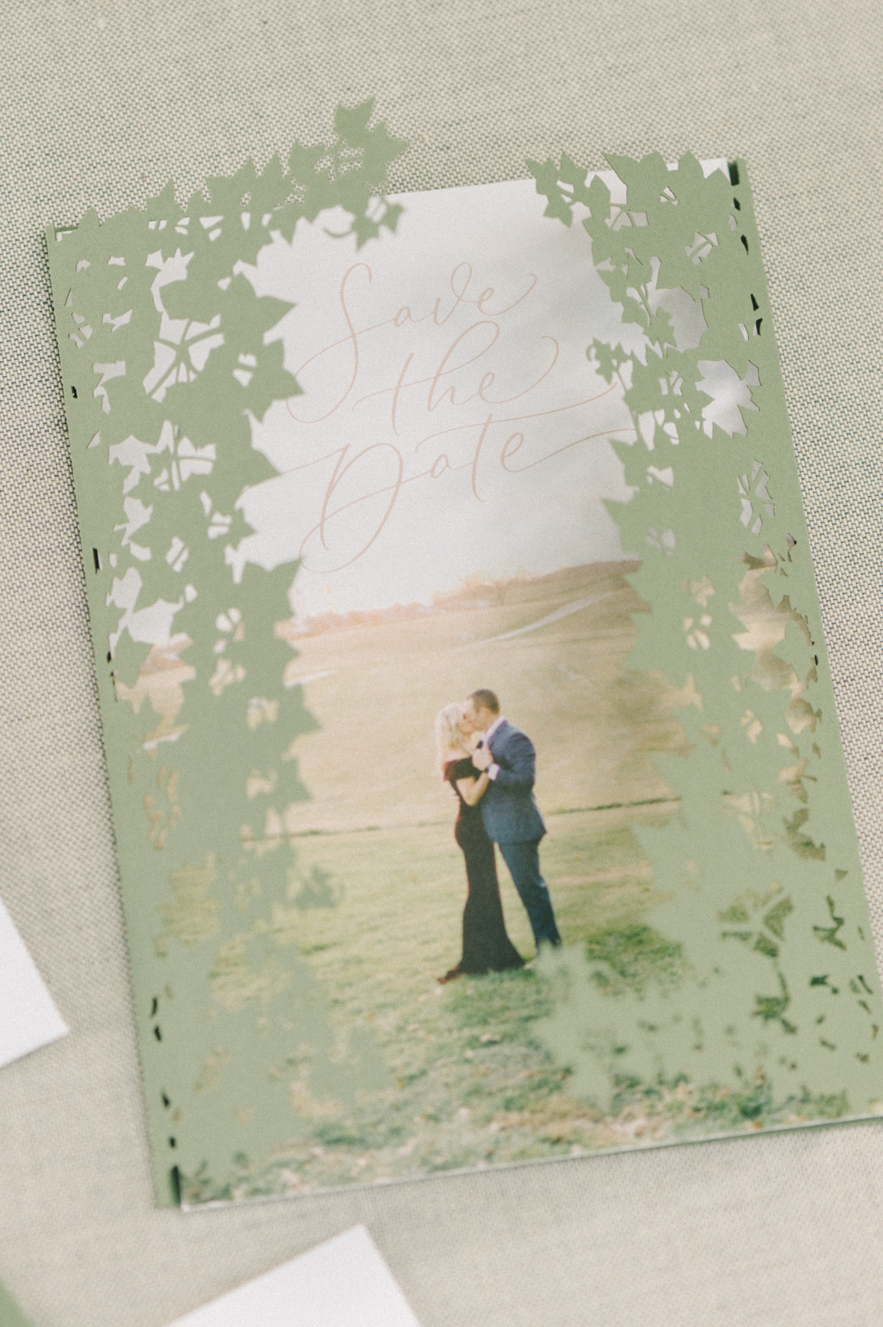 wedding save the date photo with greenery design