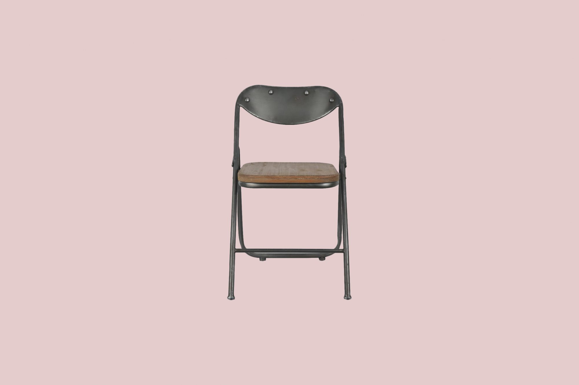 Decor Therapy Vintage Charcoal and Oak Metal and Wood Folding Dining Chair