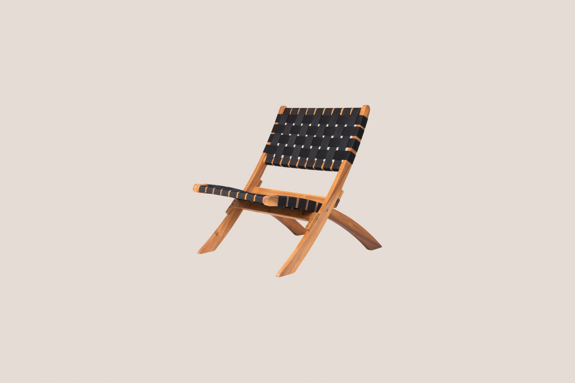 Home Depot Sava Foldable Wood Outdoor Natural Black Web Lounge Chair
