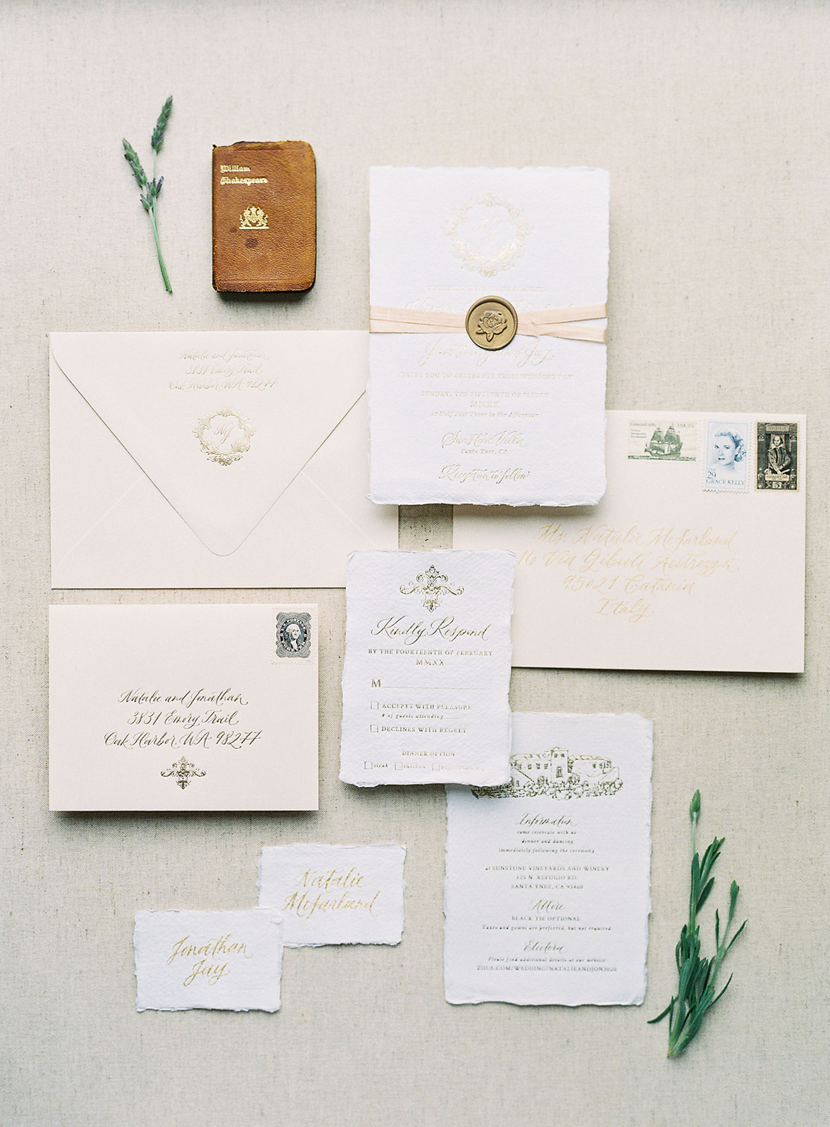 ivory paper with gold foil lettering invitation suite
