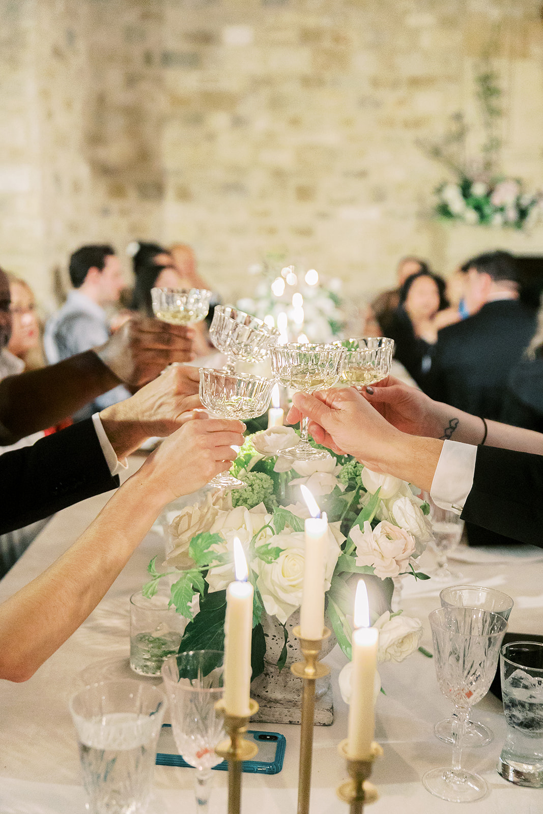 guests toast with glasses during reception