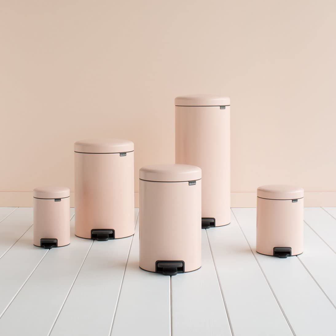 pastel pink kitchen trash cans