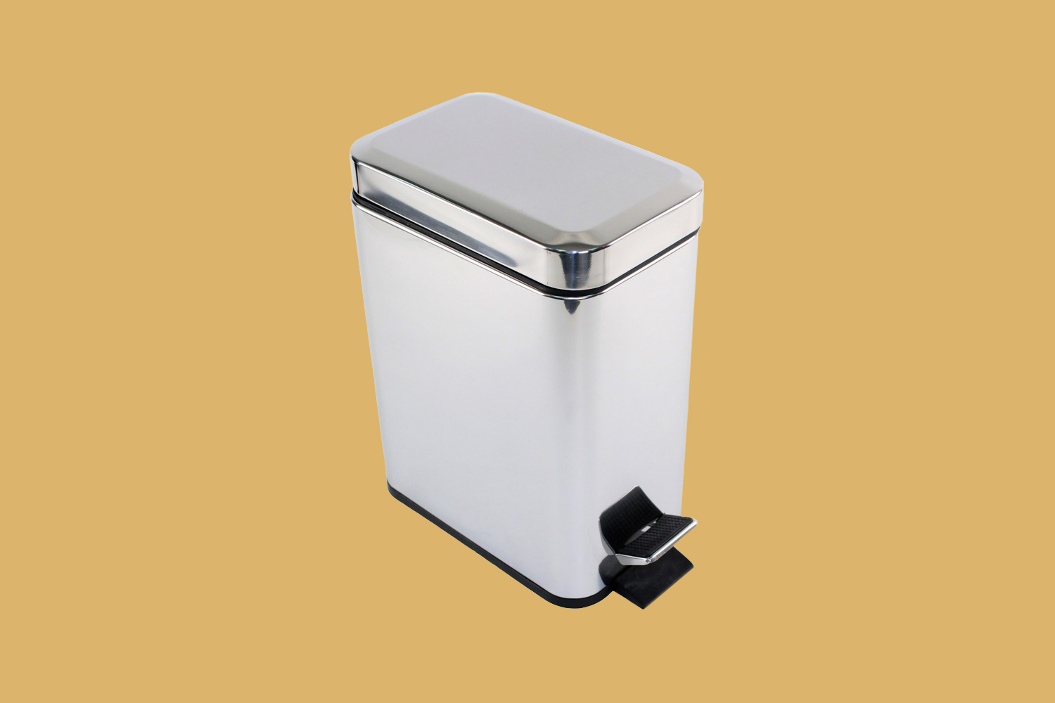 Gedy Argenta Collection Rectangular Polished Chrome Waste Bin With Pedal