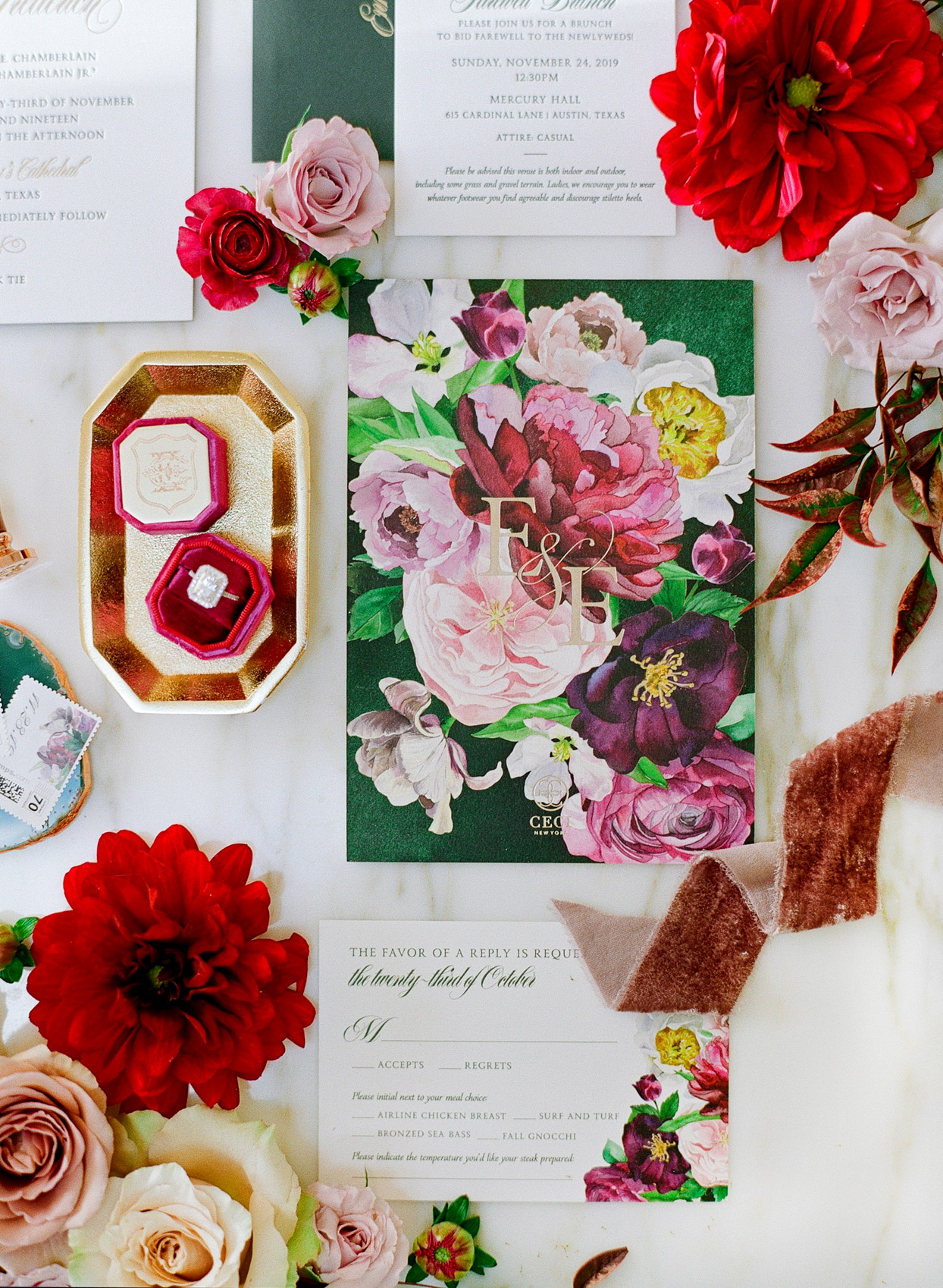 romantic red and pink floral invitations
