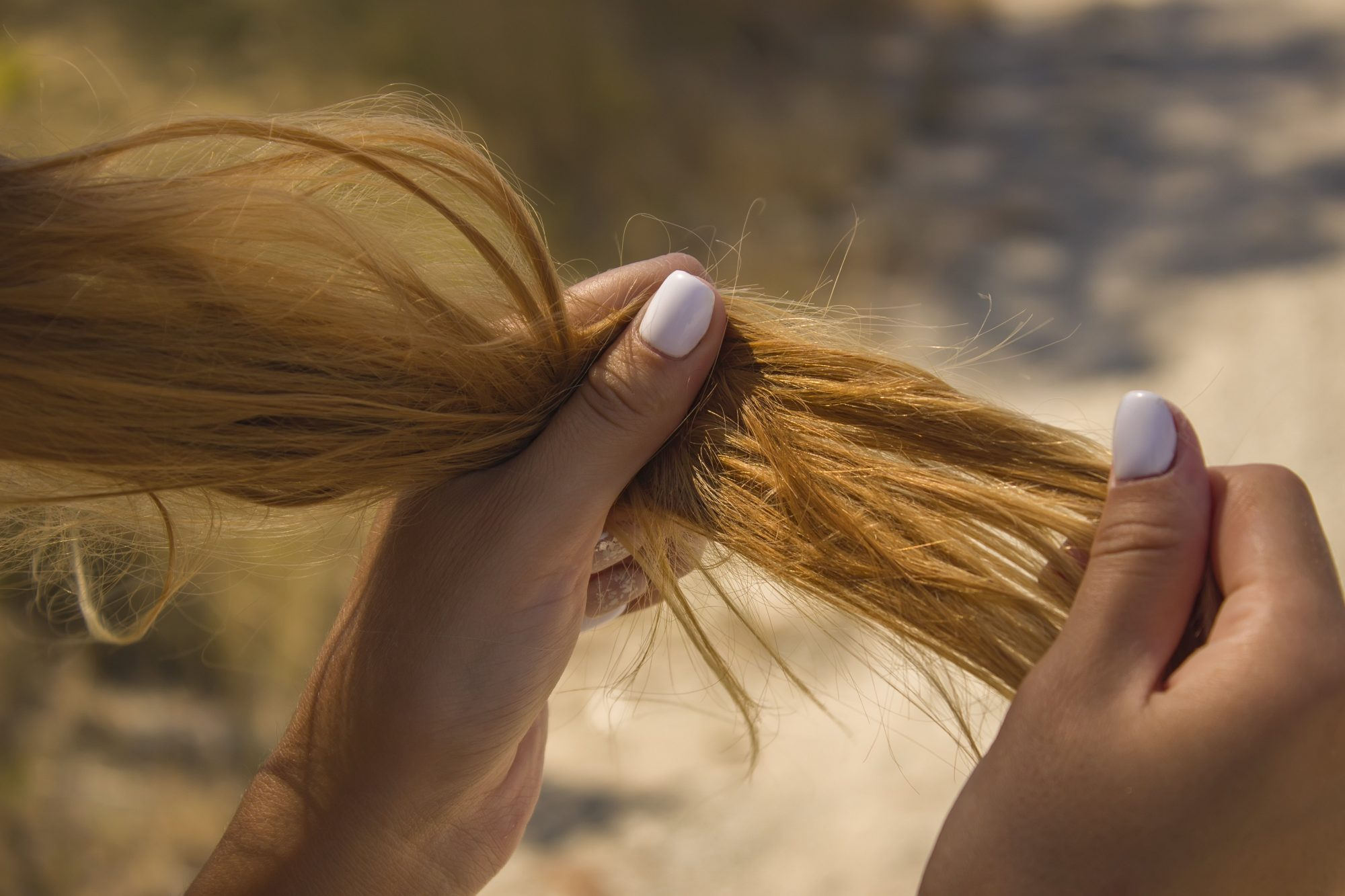 woman looking at dry hair